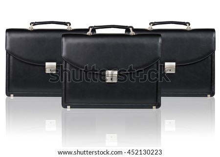 Set of black leather briefcase - stock photo