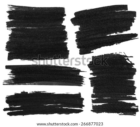 Set of black marker paint texture isolated on white background - stock photo