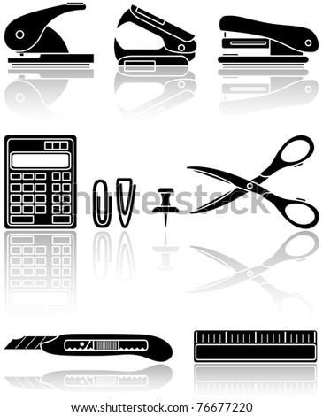 Set of black Office icons, illustration - stock photo