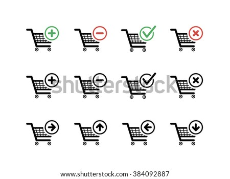 Set of black shopping carts icons with add, delete and move signs on white - stock photo