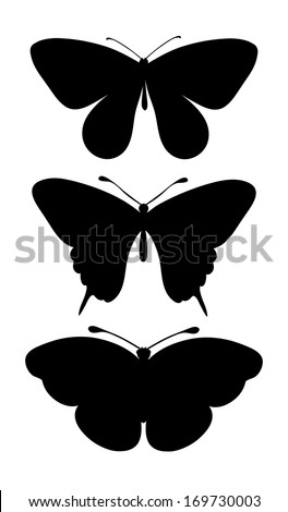 set of black silhouettes of butterflies.  - stock photo