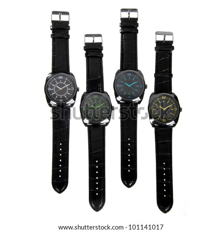 set of black watches isolated on white - stock photo