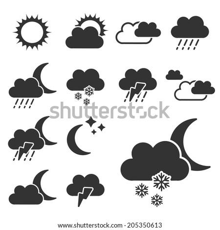 set of black weather symbols - sign, icon - stock photo