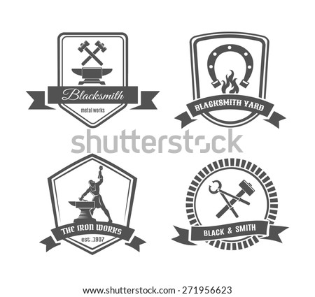 Set of blacksmith labels. Element and smith, metal and tongs, emblem and hummer - stock photo