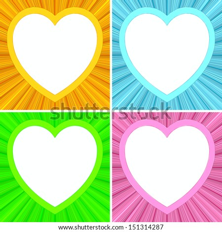 Set of blank heart shaped frames on colorful background. High resolution 3D image - stock photo
