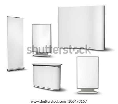 Set of blank roll-up poster, billboard, fair desk and concave wall on white background - stock photo