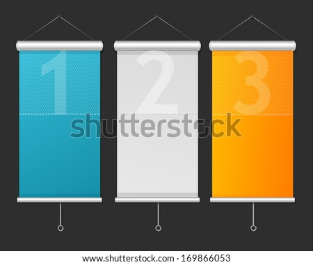 Set of Blank roll up posters. 1,2,3 concept - stock photo