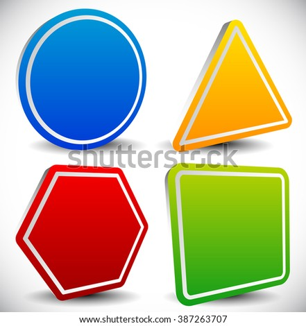 Set of blank shapes. Circle, triangle, octagon and square. - stock photo