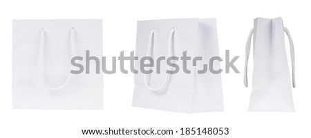 Set of blank shopping bags. White paper bags - stock photo
