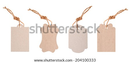 set of Blank tags tied with string.  - stock photo