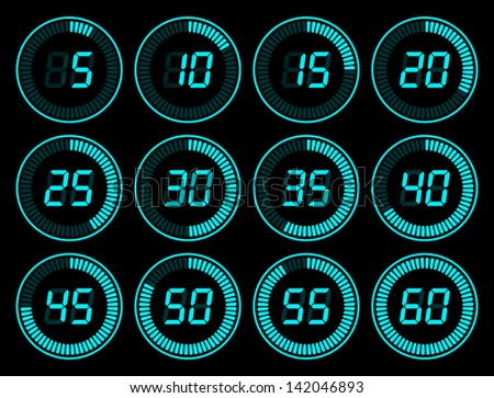 set of blue digital timer - stock photo