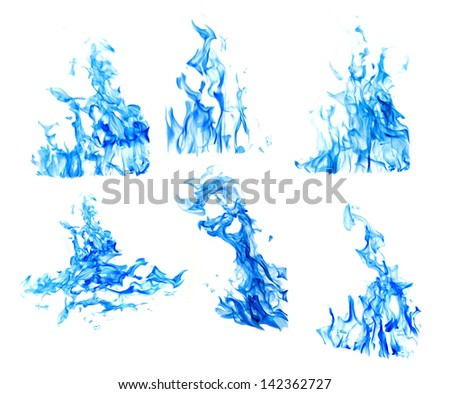 set of blue flames isolated on white background - stock photo