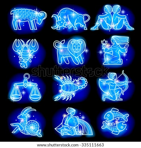 Set of blue linear zodiacal signs with figures on dark starry background. Horoscope figures with stars - stock photo