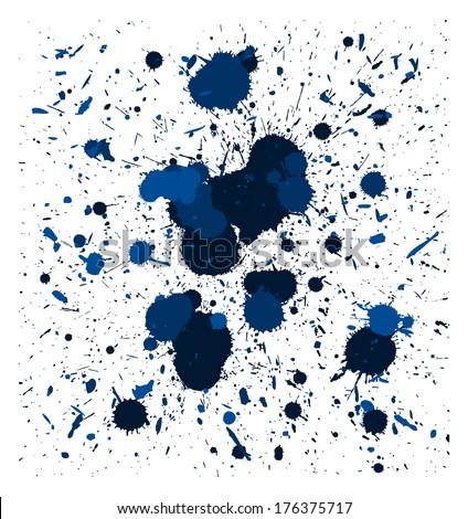 set of blue quality handmade brush splatters (raster version, available as vector too) - stock photo