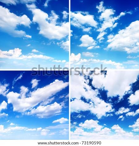 Set of blue skies. Sky daylight collection - stock photo