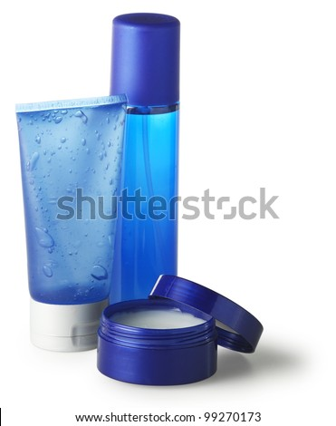 set of blue toiletries - stock photo