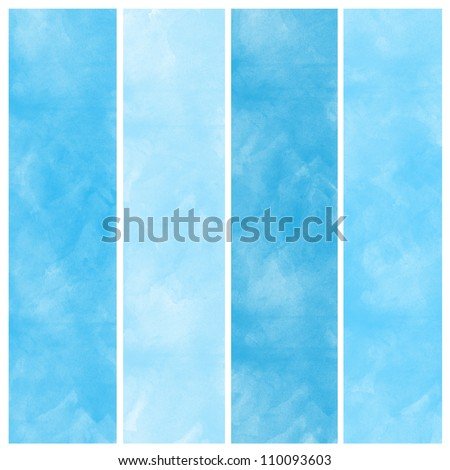 Set of blue watercolor abstract hand painted backgrounds - stock photo