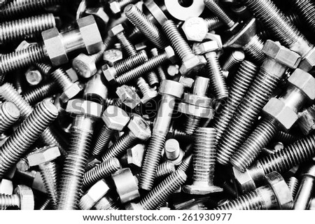 Set of bolts  in box close up - stock photo