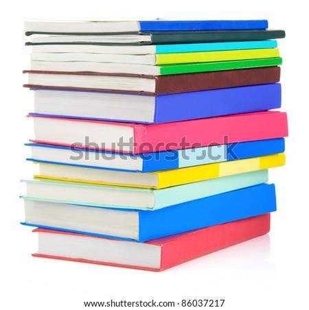 set of books isolated on white background - stock photo