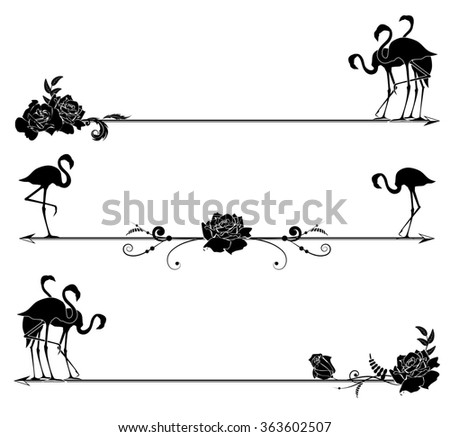 set of borders with flamingo and roses in black and white colors - stock photo