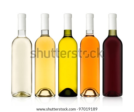 Set of 5 bottles of wine shot on clearance - stock photo