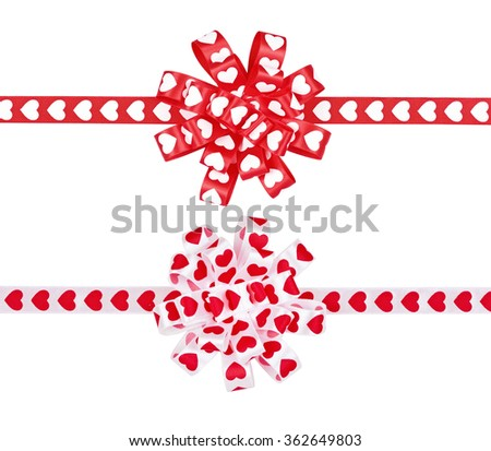 Set of bows from ribbon hearts for St. Valentine's Day isolated on the white - stock photo