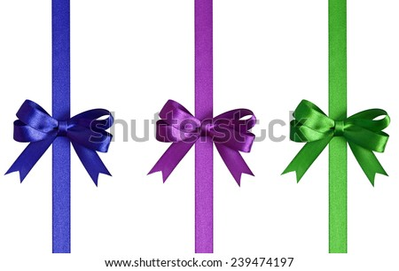 Set of bows with ribbons isolated on white background - stock photo