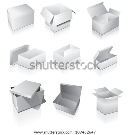 Set of boxes - stock photo