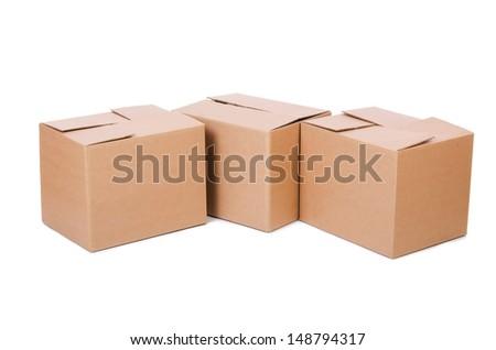 Set of boxes isolated on white - stock photo