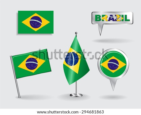 Set of Brazilian pin, icon and map pointer flags. Raster version - stock photo