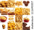 Set Of Breakfast Food On White Background - stock photo