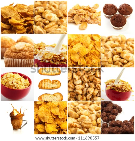 Set Of Breakfast Food On White Background - stock photo