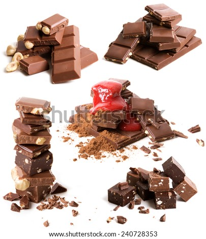 Set of broken chocolate heaps on white background - stock photo
