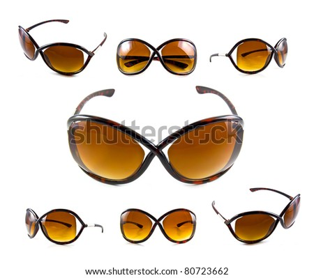 Set of brown sunglasses isolated on the white background - stock photo