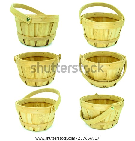 Set of Brown wooden basket isolated on white background  - stock photo