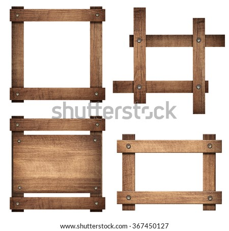 Set of brown wooden signboard and dark frames are isolated on white background - stock photo