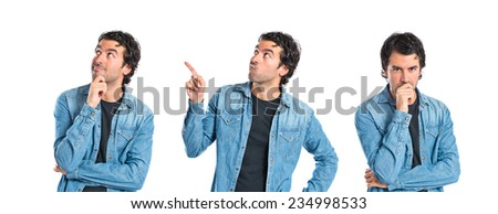 Set of Brunette man thinking over isolated white background - stock photo