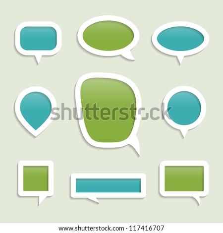 Set of bubbles for speech. Check my portfolio for vector version. - stock photo