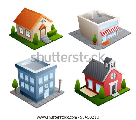 Set of 4 building illustrations - House, Store, Office, School - stock photo