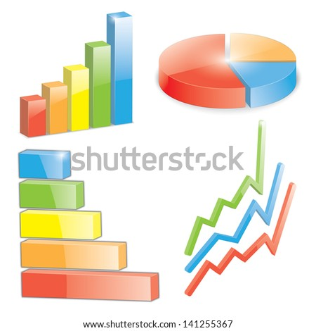 set of business charts. 3d.(vector version also available in my gallery) - stock photo