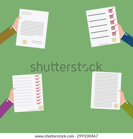 set of  business contract icon - stock photo