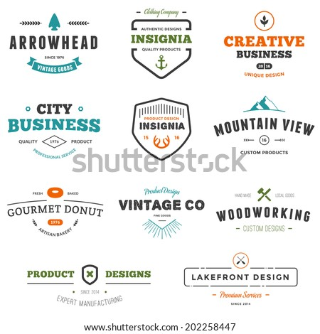 Set of business sign graphics and text designs - stock photo