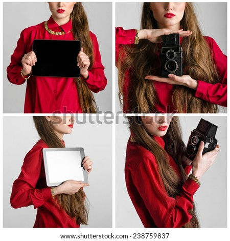 Set of Business woman dressed in red holding and shows touch screen tablet pc with blank screen and old photographic camera closeup - stock photo