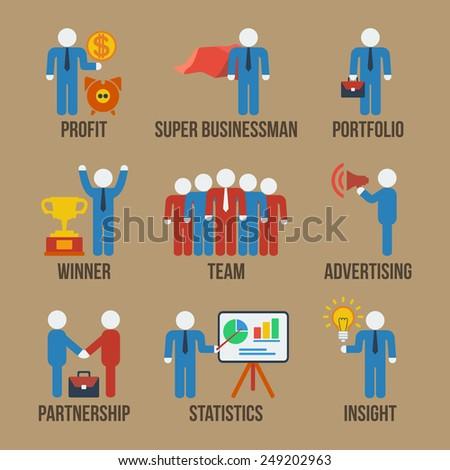 Set of 9 businessman web and mobile icons in flat design. Profit, super businessman, portfolio, winner, team, advertising, partnership, statistics, insight concept symbols. - stock photo