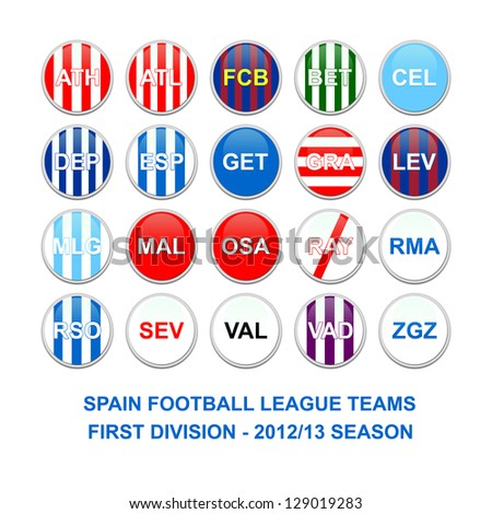 Set of buttons for spanish first division football league teams - stock photo
