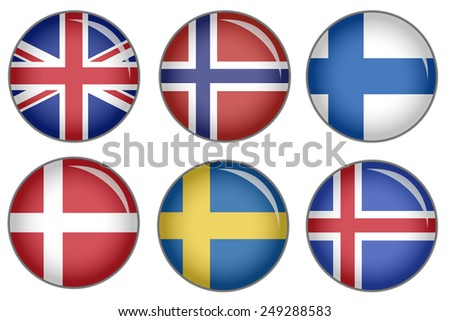 Set of buttons with national flag motive - stock photo
