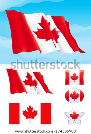 Set of Canadian flag. Flag of Canada on blue sky, Isolated on white background and icons with it - star, square and oval shape - stock photo