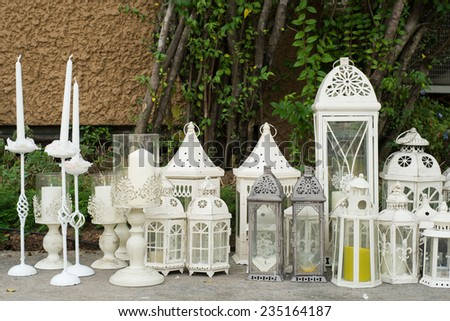 set of candle stands preparing for the wedding ceremony - stock photo