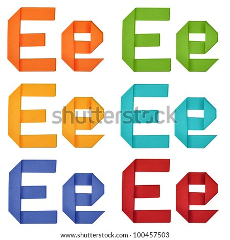 """Set of capital letter and lowercase letter """"E"""" in various color. Origami alphabet  letter  on white background. - stock photo"""