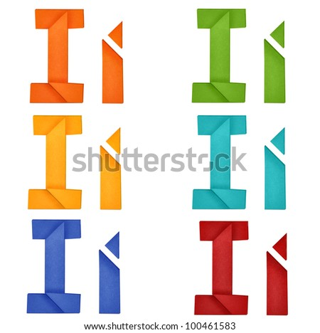 """Set of capital letter and lowercase letter """"I"""" in various color. Origami alphabet  letter  on white background. - stock photo"""